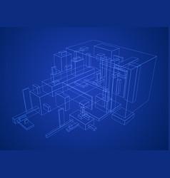 box build blueprint vector image
