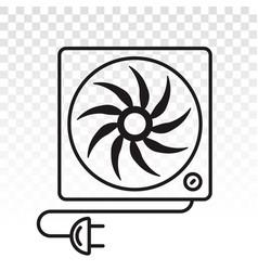 Box fan desk fan with power plugs - line art vector