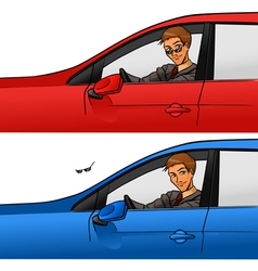 Boy in car vector image