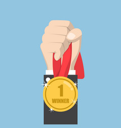 businessman hand holding winner medal vector image