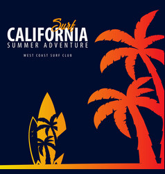 California surfing graphic with palms t-shirt vector