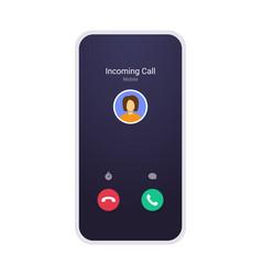 call screen mockup abstract incoming call window vector image