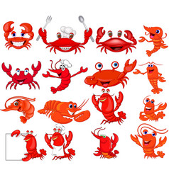 cartoon shrimp and crab collection set vector image