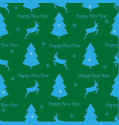 christmas deer and tree seamless pattern fashion vector image