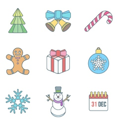 Christmas outline color icons vector