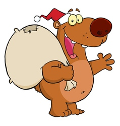 Christmas Santa Bear vector image