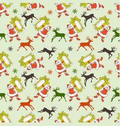 Christmas seamless pattern cartoon santa and vector