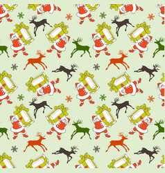christmas seamless pattern cartoon santa vector image