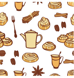 Cinnamon buns and bakery spices seamless pattern vector