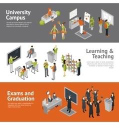 College University Isometric Banners vector