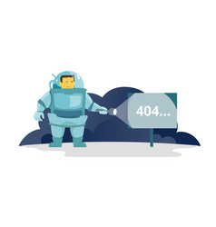 Cosmonaut with flashlight in space signboard 404 vector