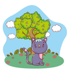 Cute kitty cat outdoors cartoon vector