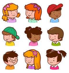 Diverse children portraits vector