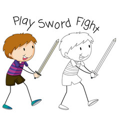 doodle boy playing sword fight vector image