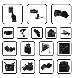 E-commerce and business black icons in set vector