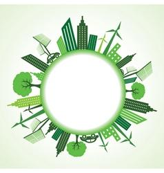 Eco cityscape around circle vector image