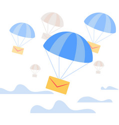 envelope falling down with blue parachute in sky vector image