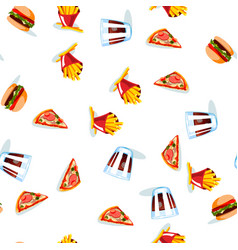 Fast food seamless pattern on white background vector