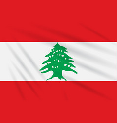 Flag lebanon swaying in the wind realistic vector