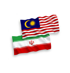 Flags iran and malaysia on a white background vector