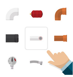 flat icon plumbing set of iron plastic container vector image