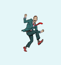 Funny man jumped in a ridiculous pose vector