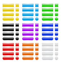 glass buttons collection of colored menu vector image