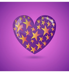 Glass Purple Heart With Gold Stars vector