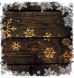 Golden Snowflakes on Wooden Background Merry vector image
