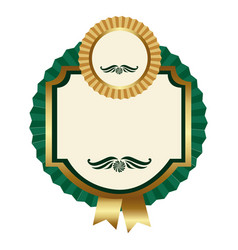 Green square emblem with ribbon icon vector