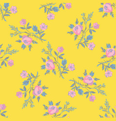 hand drawn flowers roses leaves seamless pattern vector image