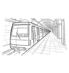 Hand drawn sketch saint petersburg subway station vector