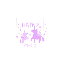 happy child cute kids poster with an unicorn vector image