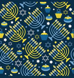 happy hanukkah print background with menorah vector image