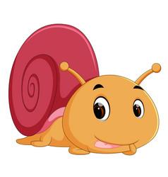 Happy snail crawling vector