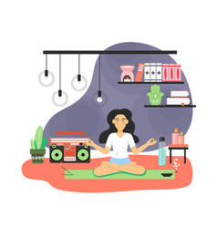 happy woman spending free time at home cute girl vector image