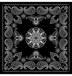 Henna Style Black and White Bandana Print vector image