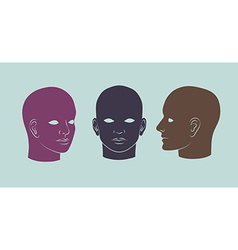 Human heads full-face half-face and three-quarter vector