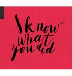 I Know What You Did - brush writing vector