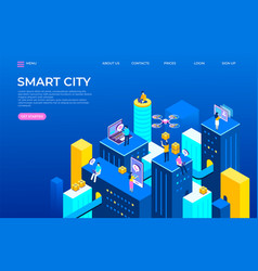 isometric city landing page futuristic buildings vector image
