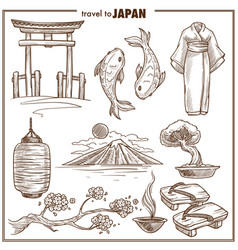 japan travel landmark sketch symbols vector image