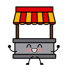 Kawaii empty stand stall template store and vector