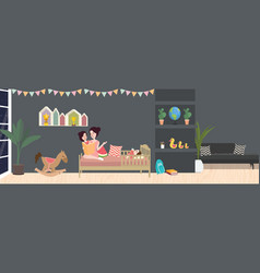 Kid room interior in dark vector
