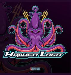 kraken octopus esport mascot logo design vector image