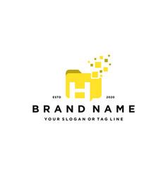 Letter h file folder logo design vector