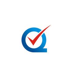 letter q checklist logo vector image