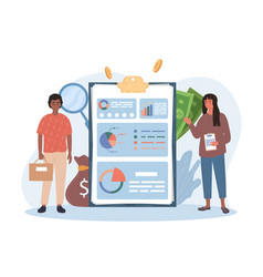 Male and female characters making accounting vector