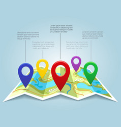 map with pin markers vector image