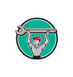 Mechanic Lifting Giant Wrench Circle Cartoon vector image