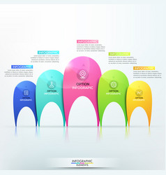 Modern infographic design template with 5 separate vector
